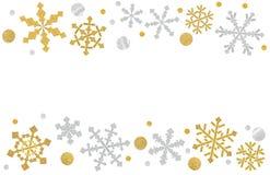 雪花在白色背景切开的框架纸 库存例证