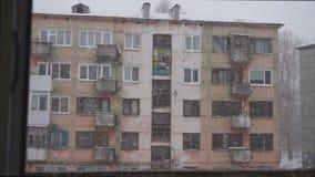 雪花在高山村庄,冬天背景落 降雪,雪花,冬天风景背景 雪风暴冬天 影视素材