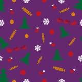雪花样式提出圣诞老人树玩具 免版税库存图片
