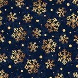 雪花的圣诞节无缝的样式在黑暗的背景的 免版税库存照片