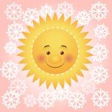 雪花围拢的动画片太阳 图库摄影