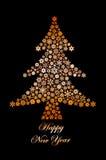 雪花画的圣诞树 图库摄影