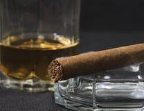 雪茄和觚威士忌酒 免版税库存照片