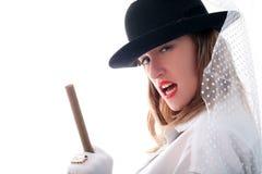 雪茄女孩帽子环形vail 库存图片