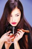 雪茄妇女 库存照片