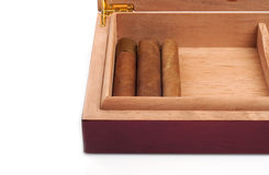 雪茄盒被开张的部分 免版税图库摄影