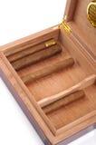 雪茄盒被开张的部分 免版税库存图片