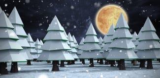 雪覆盖物圣诞树的综合图象 免版税库存图片