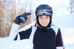滑雪设备的示范。 免版税库存图片