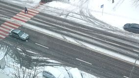雪路冬天汽车 股票视频