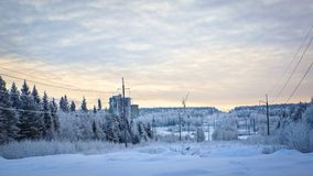 雪道、森林和建造场所在冬天环境美化 免版税库存照片