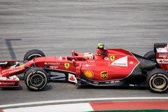 雪邦- 3月28 :在前曲线的Kimi Räikkönen 免版税图库摄影
