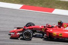 雪邦- 3月27 :在前曲线的Kimi Räikkönen 库存照片