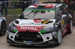 雪铁龙DS3 WRC在萨洛角,西班牙 图库摄影