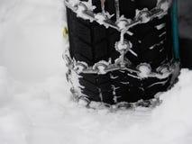 雪链子冬天 免版税库存照片