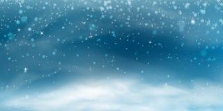 雪风景横幅 库存例证