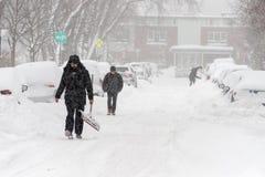 雪风暴史特拉在蒙特利尔 免版税库存图片