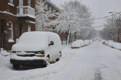雪风暴在蒙特利尔 库存图片