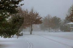 雪风暴的冬天场面在这个中央新泽西邻里 免版税库存图片