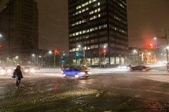 雪风暴在多伦多 库存照片
