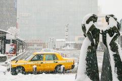 雪风暴在横滨,日本 库存照片