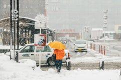 雪风暴在横滨,日本 库存图片