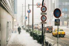 雪风暴在横滨,日本 免版税库存图片