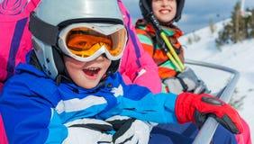 滑雪,冬天,家庭 免版税库存图片