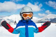 滑雪,冬天,家庭 免版税库存照片