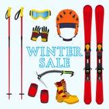 滑雪,雪板运动设备,在平的样式的材料冬天销售  免版税图库摄影