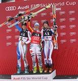 滑雪:Lienz巨人障碍滑雪 库存照片