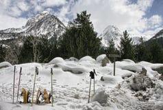 雪靴和滑雪杆 免版税库存图片