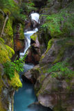 雪崩小河,冰川国家公园,蒙大拿 免版税库存图片