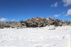 雪&山风景 免版税库存图片