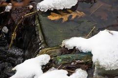 雪围拢的未冻结的水小河小小瀑布在冬天在山Kozomor 图库摄影