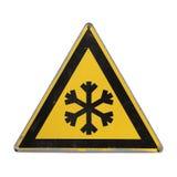 雪 极端寒冷 黄色三角 库存图片