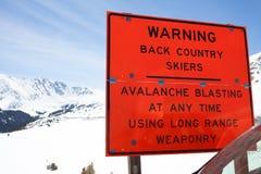 雪崩警告 库存照片
