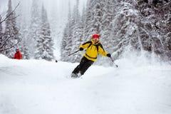 滑雪滑雪者滑雪场地外的backcountry手段 免版税图库摄影