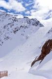 滑雪滑雪道在瑟尔登,奥地利 免版税库存照片