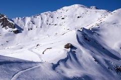 滑雪滑雪道在Mayrhofen 库存图片
