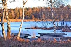 雪beeing的冰在冬天 免版税库存照片