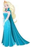 雪In Blue Dress Side公主 向量例证