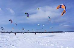 雪kiters训练  图库摄影