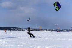 雪kiters训练  免版税库存图片