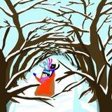 雪sleid通过树隧道 库存图片