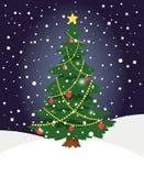 雪xmas树 与云杉的光装饰的冬天常青圣诞树杉木在假日夜背景 向量例证
