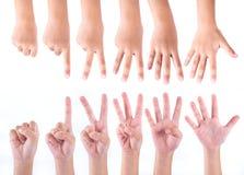 零个到五个手指计数标志 免版税库存照片