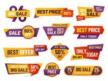 零售标记 便宜飞行物、最佳的出价和大售价标记徽章设计被隔绝的传染媒介收藏 皇族释放例证
