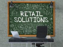 零售解答概念 在办公室墙壁上的黑板 3d 库存图片