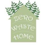 零的废家hadwritten在房子剪影的字法 传染媒介eco概念例证 保护象传染媒介 向量例证